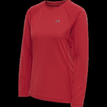 WOMEN CORE RUNNING T-SHIRT L/S, TANGO RED, packshot